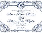 Printable Wedding Invitation - 5x7 - Ornate Frame - Formal Classic Elegant Vintage Personalized DIY - Navy Blue White Brown Ivory Red Gold