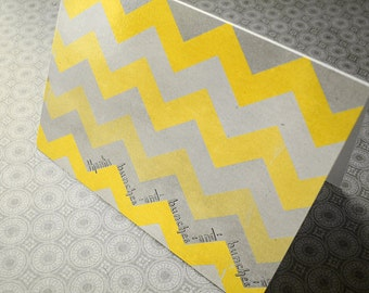 Ombre Chevron Thanks Bunches - Blank 4x5.5 Thank You Card, Single or Set of 4 - Yellow Grey Shaded Modern Trendy Geometric