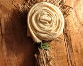 Burlap Flower Boutonniere- Set of three
