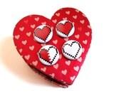 Legend of Zelda Pinback Button Set Geek Valentine Gift For Him 8 bit Pixel Heart