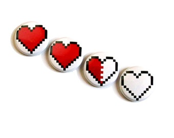 Pixel Heart Magnet Set Decoration 8 bit Zelda Geek Love