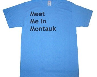 Eternal Sunshine Shirt Meet Me In Montauk (Youth and Adult Sizes Available) Light Blue Men Women