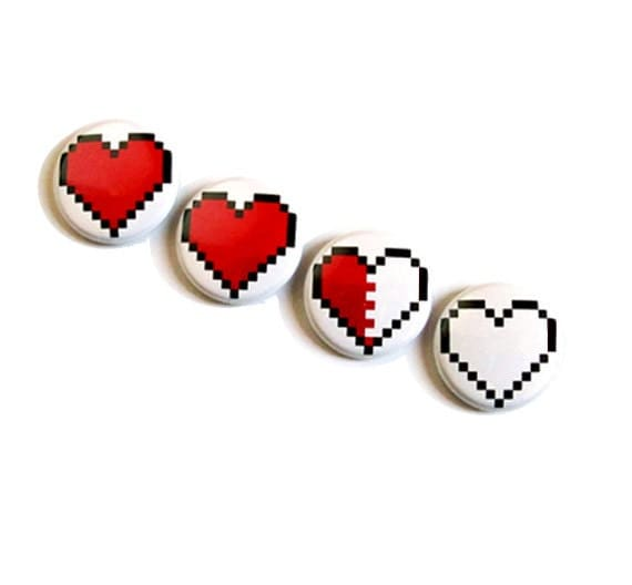 Pixel heart magnet set decoration 8 bit by for 8 bit decoration