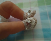 Crochet baby shoes ribbon. Free gift with purchase.