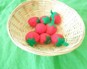 felt strawberries set of eight
