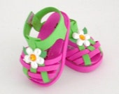 Pink and Green Woven Sandal