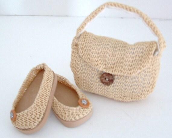 Natural Ballet Flats and Matching Shoulder Bag