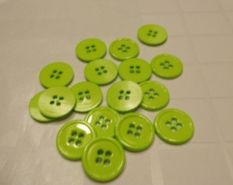 17 lime green acrylic buttons, 15 mm (B5)