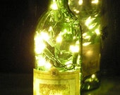 Green Hacienda Wine Bottle Light with white lights