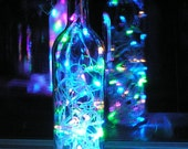 Clear Wine Bottle Light with multi-colored pastel LED lights inside - battery operated