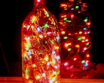 Clear Wine Bottle Light with multi-colored lights