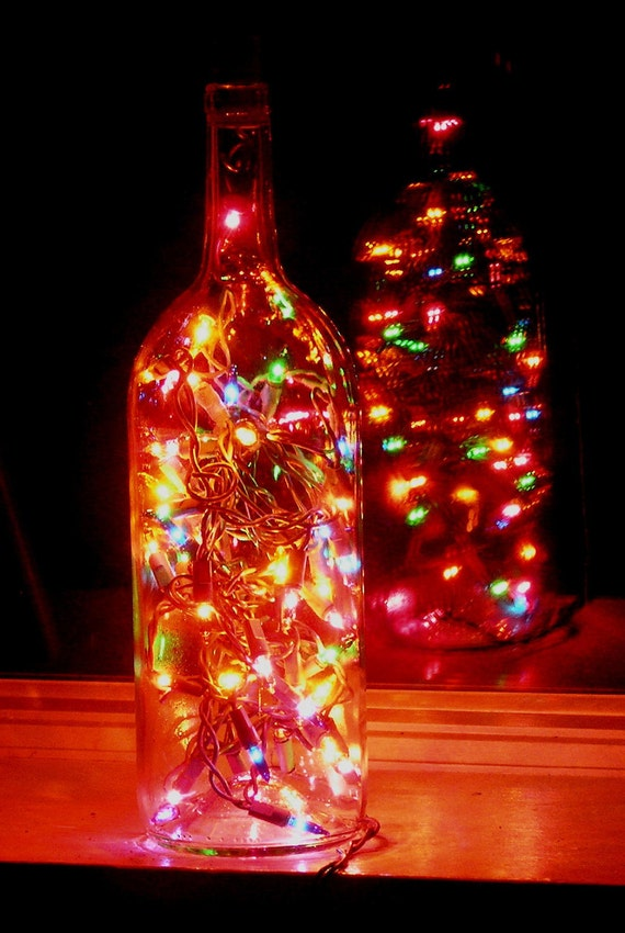 Clear wine bottle light with multi colored lights for Clear wine bottle centerpieces
