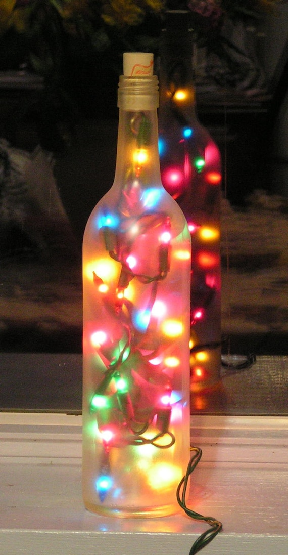 Frosted Clear Wine Bottle Light with multi-colored lights
