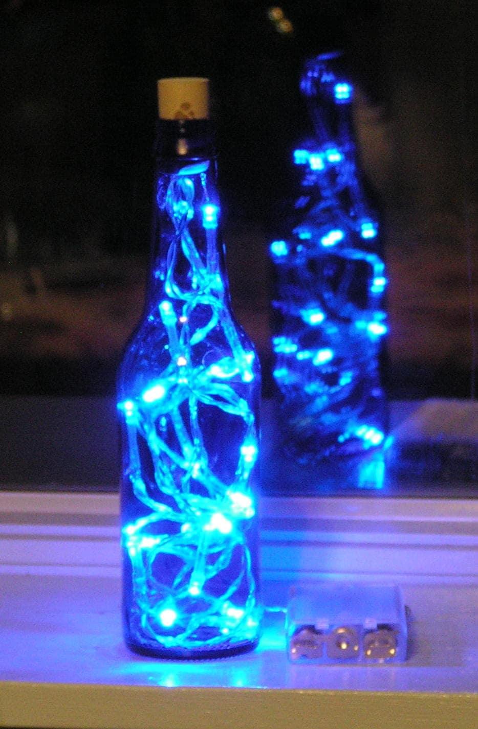 Blue Glass Beer Bottle Light With White Led Lights Inside