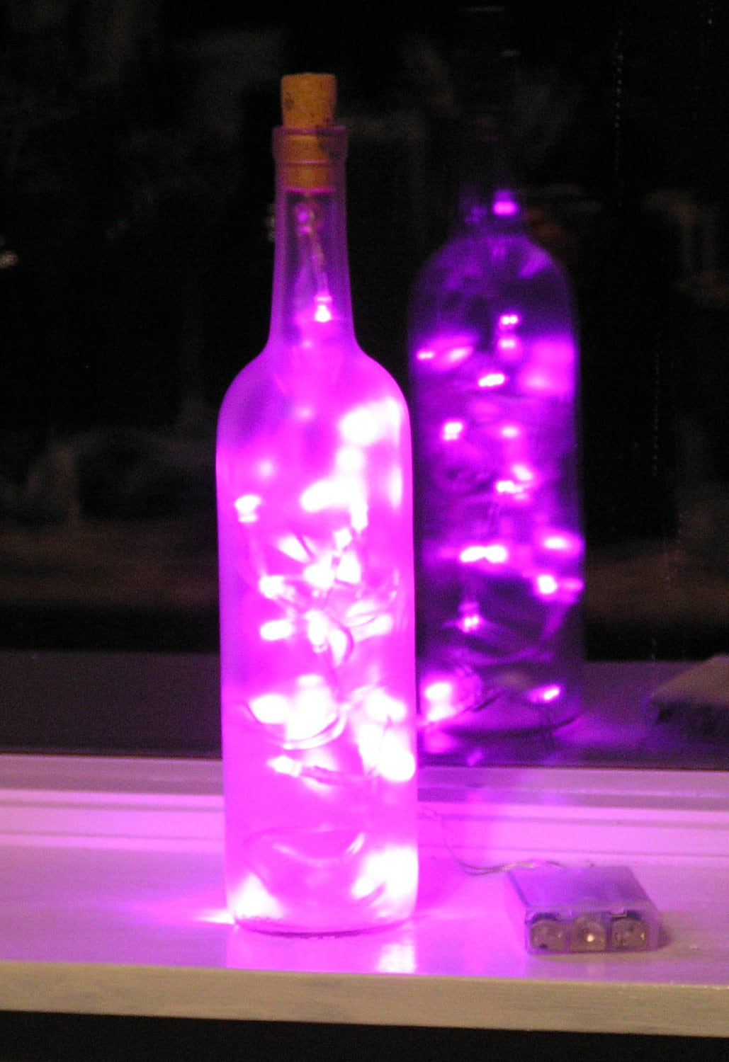 Frosted Clear Wine Bottle Light With Pink Led Lights Inside