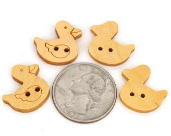 24 Buttons, natural material wood buttons,duck,  for jewelry,sewing,embellishment