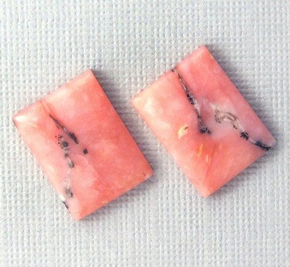 Pink Peruvian Opal Pair - Hand Cut Freeform Designer Gemstone Cabochons - Cherry Blossom Pink Opal Earring Pair