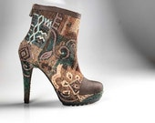 High Heels - Handmade fabric and leather booties - made to order - 30% OFF