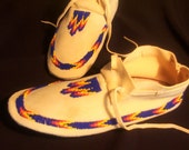 Beaded Moccasins Ladies size 9 by Tribal artist Free Shipping