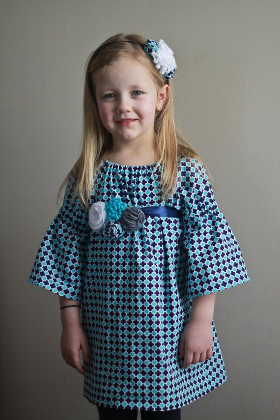 Little Girl Peasant Tunic or Dress, 3/4 Length Sleeves Custom Boutique Made to Order 12 Months, 18 Months, 2T, 3T, 4T 2 3 4