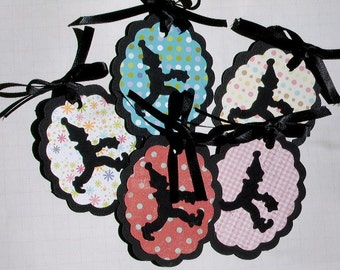 """Circus Clowns Handcrafted Gift Tags, Paper Cut-Outs, OOAK """"Clowning Around"""" Edition"""
