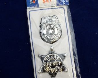Vintage Novelty Tin Toy Pin Badges, Special Police, Texas Sheriff Ranger Badge Set, Made in Japan, Shadow Box Art Supply