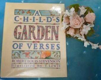 "Classic Hardbound Children's Poetry Book ""A Childs Garden of Verses"" by Robert Louis Stevenson, 1989 Vintage Childhood Book"