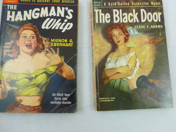 Vintage kaba Tin Gun and 2 Vintage Murder-Detective Pulp Fiction Novels - MAN CAVE- Great Paper EPHEMERA
