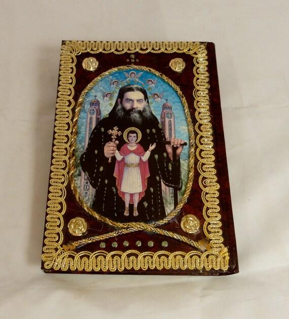 Vintage Religious Icon Altered Art Book - Folklore - Coptic Orthodox - // FunkAndMore