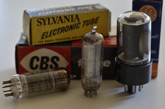 Industrial steampunk supplies, 3 vacuum tubes, vintage supplies, destash, glass vacuum tubes, electron tubes, valve tubes, original boxes