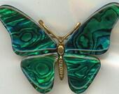 Vintage Butterfly Brooch.  Green Wings, Gold Tone Body, Beautiful Design.