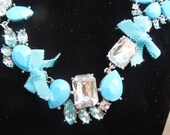 Vintage Necklace and Earrings Set.  Silver Tone, Large Blue Rhinestones, Blue Beads, Blue Ribbons