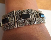 Vintage Silver Bracelet.  Heavy, Stamped 925, Sterling, Black Onyx and Marcasite.