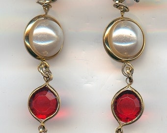 Vintage Dangle Earrings.  Gold tone, faux pearl, red bead, post style, nice condition