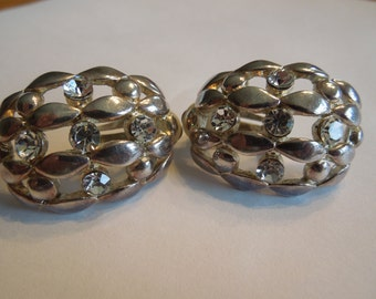 Vintage Clip Earrings, Silver Tone with Rhinestones, Lattice Design