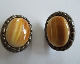 Vintage Clip Earrings, Copper Back Plate with a Hard Plastic Bead, Look Unusual and Nice