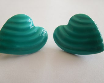 Vintage Heart Earrings, Blue-Green Color, Clip On Style, in Nice Condition