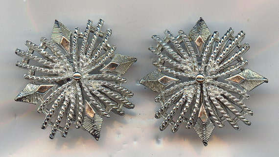 Vintage CORO Earrings.  Clip On Silvertone Maltese Cross Style. Excellent Condition