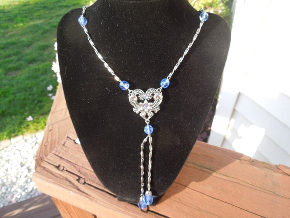 Vintage Blue Bead Necklace.  Silver Tone Strands, Long Beautiful Design