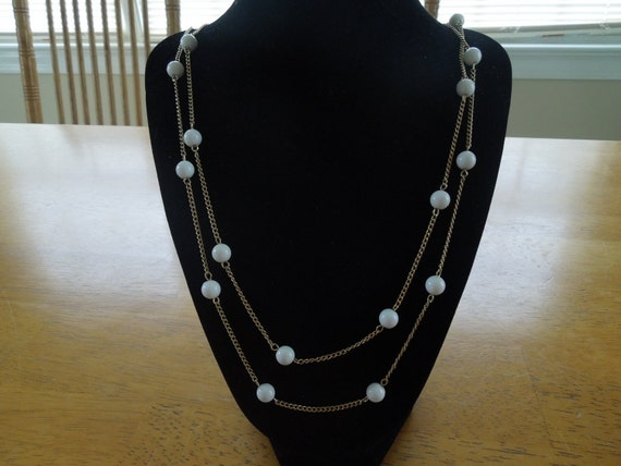Vintage Gold Tone Necklace with White Beads, Long Length, Light Weight Perfect for Summer.
