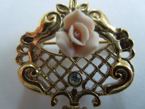 Vintage Rose Brooch, by 1928.  Gold Tone, with a Porcelain Rose, Rhinestone and a Faux Pearl