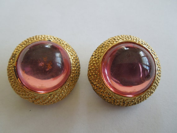 Vintage Clip Earrings in Gold Tone with Pink Resin Beads.  1.25 Inches Diameter.