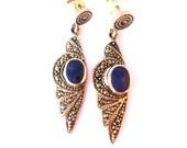 Silver Earrings  Blue Lapis lazuli