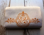 White and Mustard Yellow Vintage Embroidered Linen Bath Towel