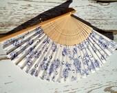 Wooden Fan Blue White   Vintage 80's