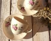 Vintage Ivory Porcelain Teacups with Violet Pink Flowers decorations