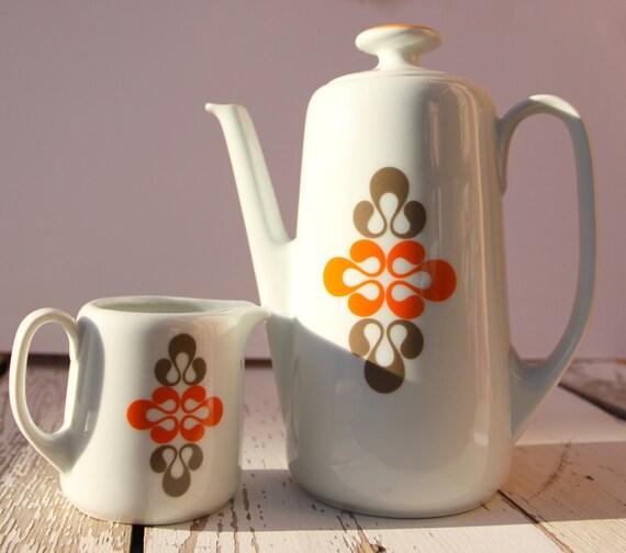 Vintage Orange Grey Porcelain Coffee Pot with Creamer 70s