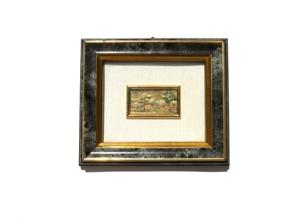 Vintage Little Frame Italian Wall Decor Grey Gold Tone with Cromolithography