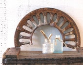 architectural salvage piece arch iron patina mantle shelving display industrial decor ironwork