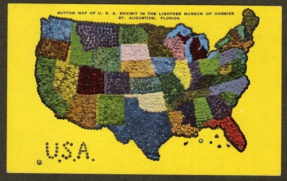 Button Map - Yellow Postcard - Lightner Museum of Hobbies